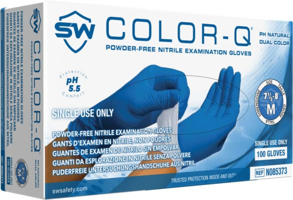 Color-Q pH Natural Nitrile 2-Ply Powder-Free Exam Gloves