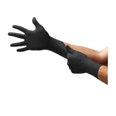 Onyx Black Powder-Free Textured Nitrile Exam Gloves