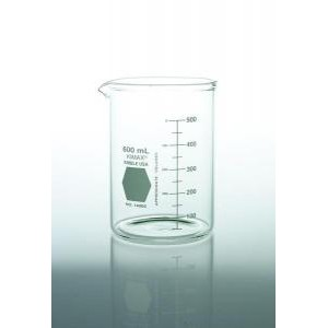 KIMAX® Heavy-Duty Low Form Beakers w/Double Capacity Scale